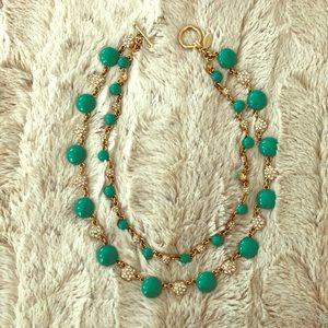 Ann Taylor Teal, Crystal, and Gold Finish Necklace